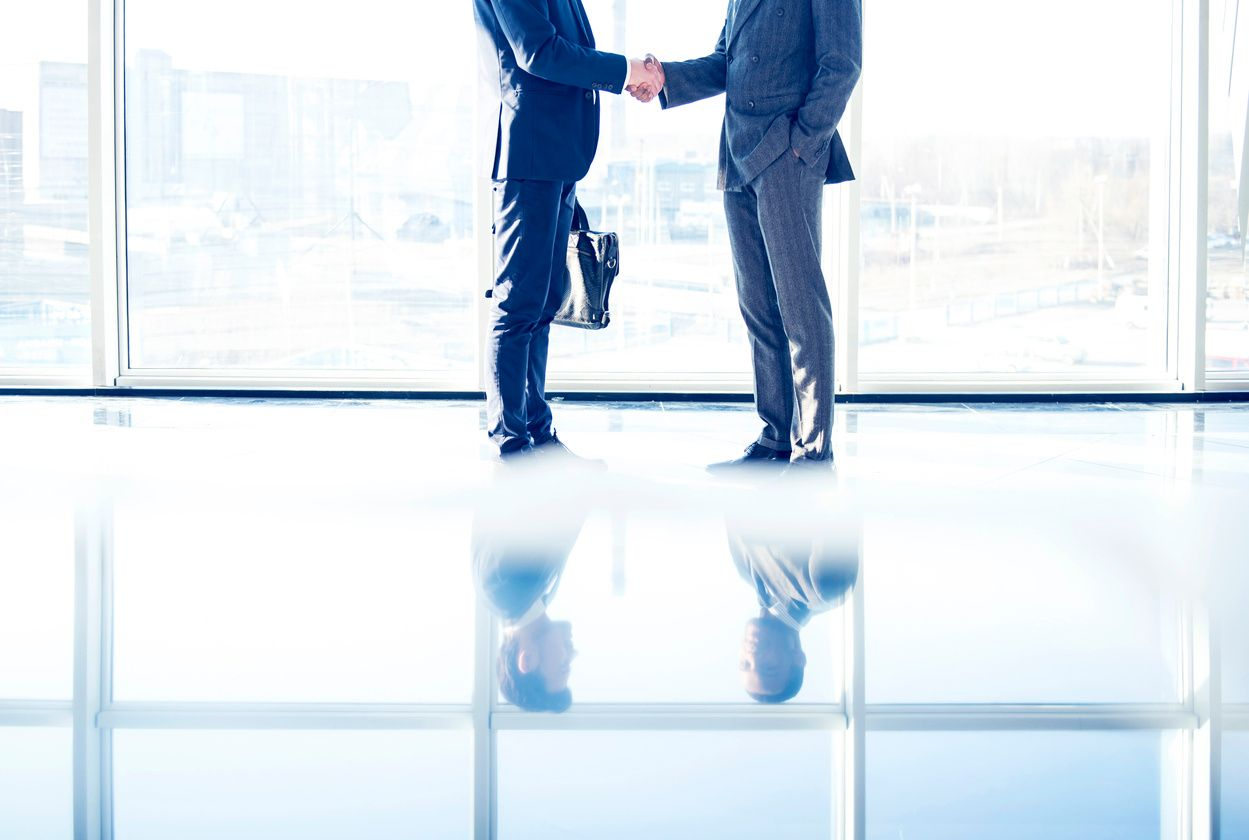 two consultants shaking hands stock photo
