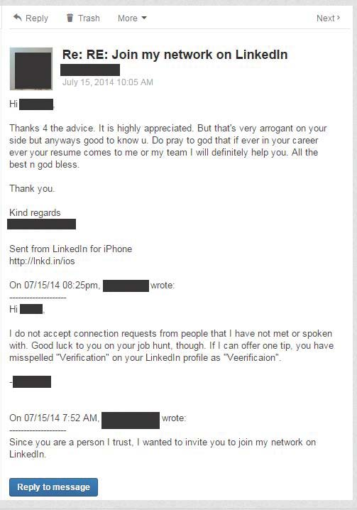 the horrible linkedin introductions grammar message