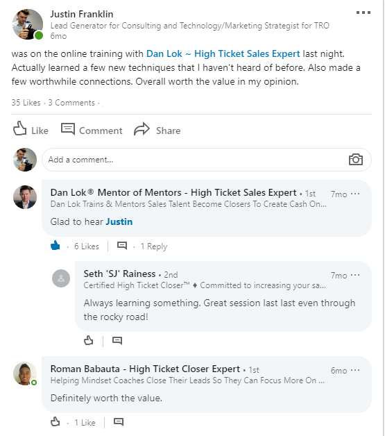 dan lok comments on linkedin
