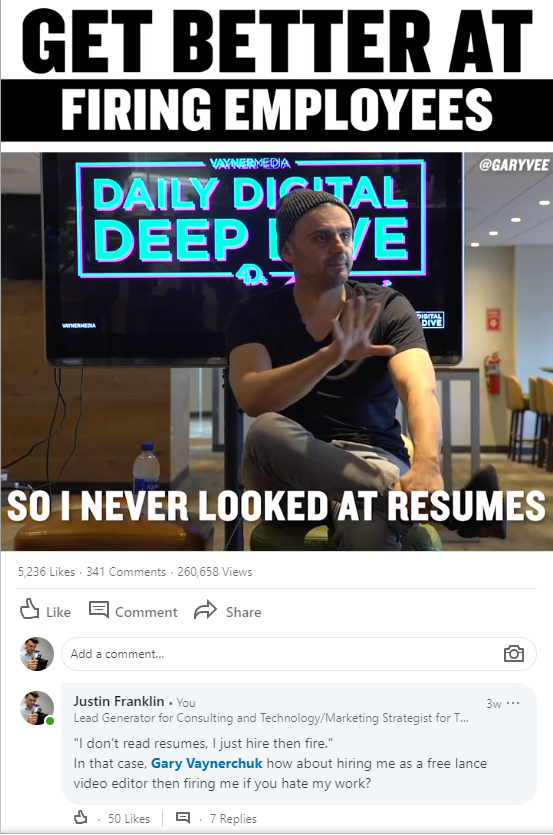 gary vaynerchuk never looks at resumes