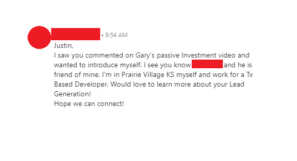 LinkedIn comment that generated a lead in messenger